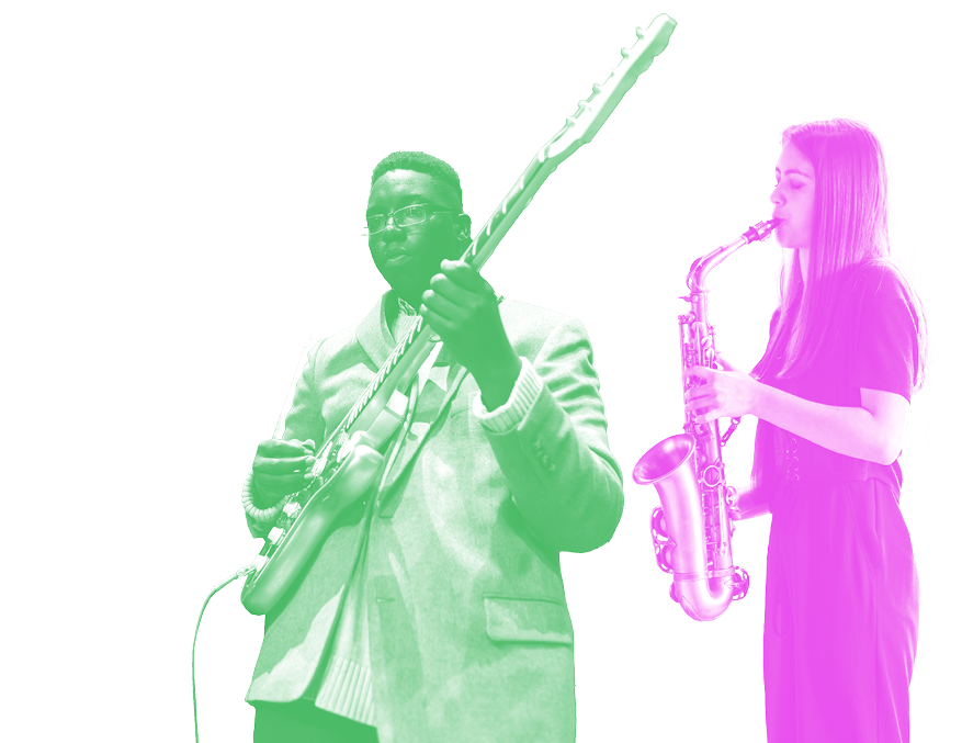 Jazz winners playing the bass and saxophone