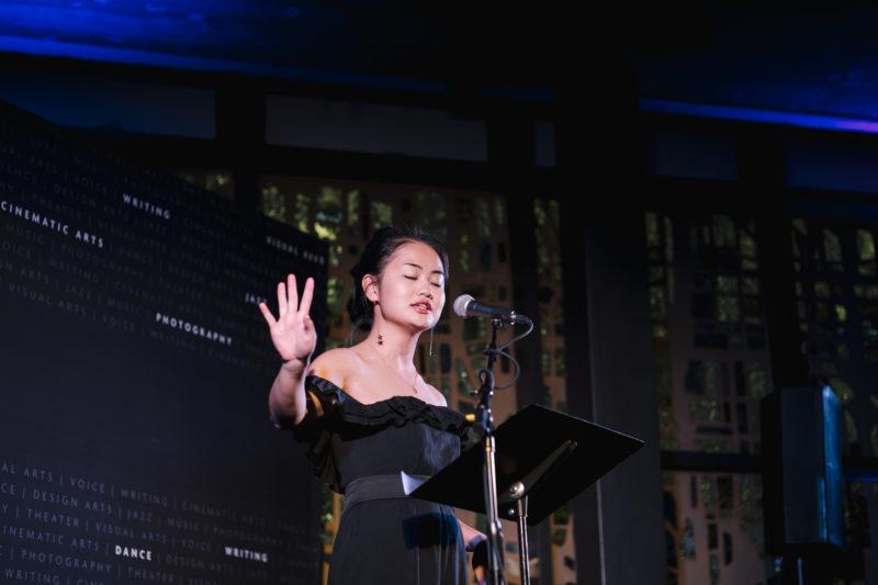 Serena lin speaking at podium